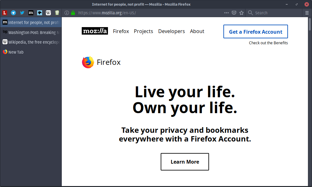 Firefox with vertical tabs